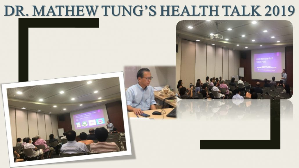 Dr Mathew Tung Health talk in 2019